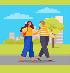 Couple walking in city tourists strolling in town vector
