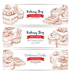 Desserts sketch bakery shop banners set vector image
