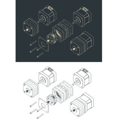 Disassembled stepper motor with planetary gearbox vector