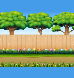 easter eggs decorative on the grass with wooden fe vector image