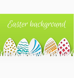 easter paper cut colorful easter eggs with vector image
