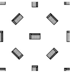 electronic synth pattern seamless black vector image