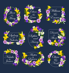 Flowers frames for wedding cards vector