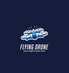 Flying mini racing drone logo fast quadcopter vector