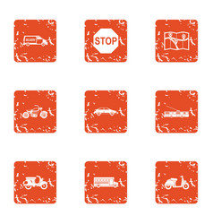 Freeway icons set grunge style vector
