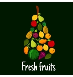 Fresh fruits label with flat fruit icons vector image