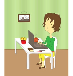 Girl working on laptop vector image