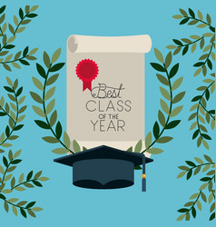 Graduation card with diploma and hat vector
