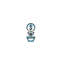 growth icon design marketing icon line vector image