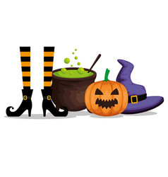 Halloween card with witch feets and cauldron vector