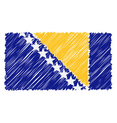 hand drawn national flag of bosnia and herzegovina vector image
