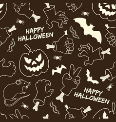 happy halloween monochrome seamless pattern vector image
