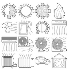 Heat cool air flow tools icons set outline style vector