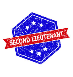 Hexagonal bicolor second lieutenant rubber stamp vector