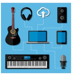 Home music studio concept vector image vector image