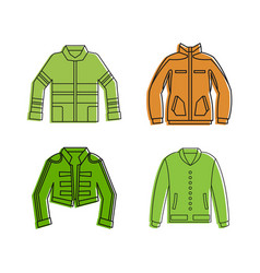 Jacket icon set color outline style vector