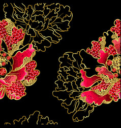 japanese peony flowers embroidery with sequins vector image