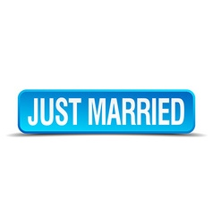 Just married blue 3d realistic square isolated vector