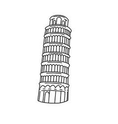leaning tower pisa line art vector image
