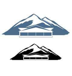 logo hotel in the mountains vector image