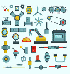 Machine parts machinery flat vector