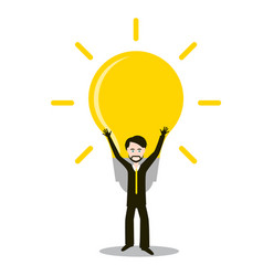 Man with bulb idea and success symbol invention vector