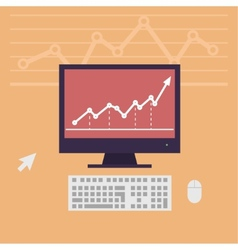Monitor workstation desk vector