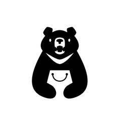 moon black bear vietnam shop shopping bag store vector image