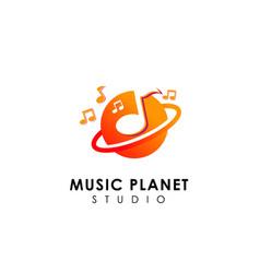 music planet logo design concept music play icon vector image