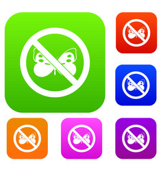 No butterfly sign set collection vector