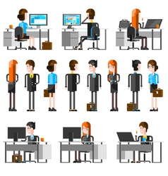 Office People Cartoon Icons Set vector