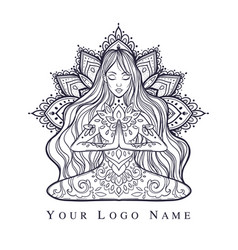Ornamental woman in a yoga pose vector