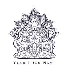ornamental woman in a yoga pose vector image