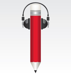 Pencil red and headphones vector image