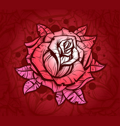 pink graphic realistic detailed rose vector image