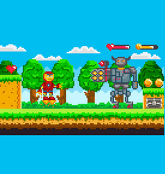pixel 8 bit game robot and cyborg monster vector image