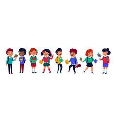 Pupils set group children on white background vector