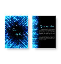 rectangular brochure with neon light vector image