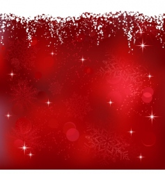 Red abstract background with stars and snowflakes vector
