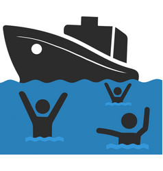 refugee family with children sailing vector image