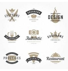 Retro Hand Drawn Logos Templates Set Hand vector image