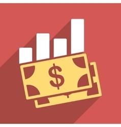 Sales Bar Chart Flat Longshadow Square Icon vector