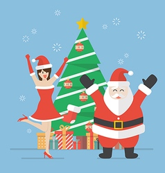 Santa claus and Santa woman with christmas tree vector image