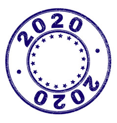 Scratched textured 2020 round stamp seal vector