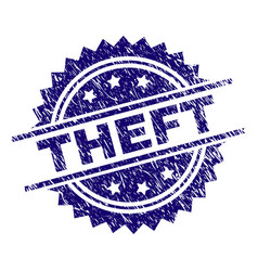 Scratched textured theft stamp seal vector