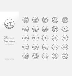 Sea wave line art minimalist vector