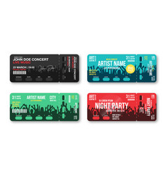 set concert tickets template concert party vector image