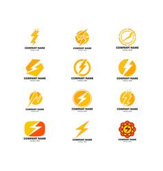 set lightning logo template icon design vector image