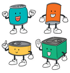 set of can cartoon vector image