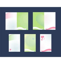 Set of Gift Cards Hearts and ribbons vector image